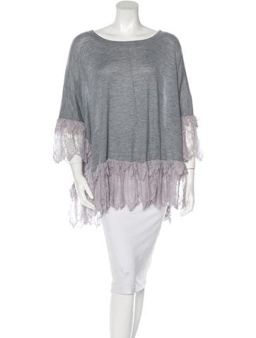 Thomas Wylde Cashmere Lace-Trimmed Top None