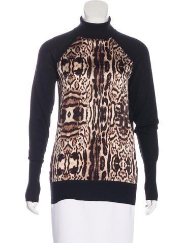 Thomas Wylde Silk-Paneled Cashmere Turtleneck Top w/ Tags None