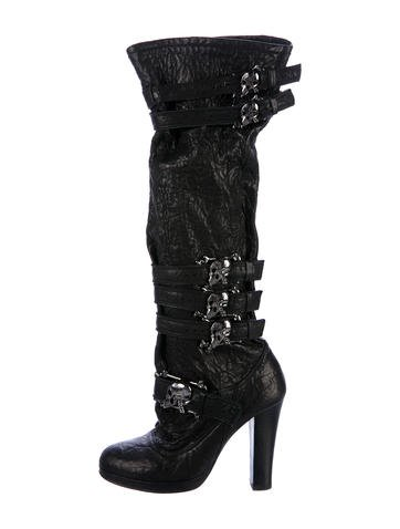 Thomas Wylde Leather Peep-Toe Booties Grey outlet store online U8mqKDOC7g