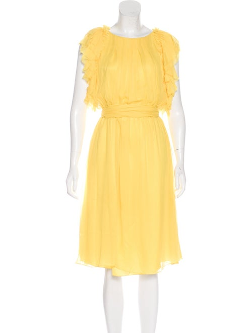 Thomas Wylde Ruffle Midi Dress Yellow - image 1
