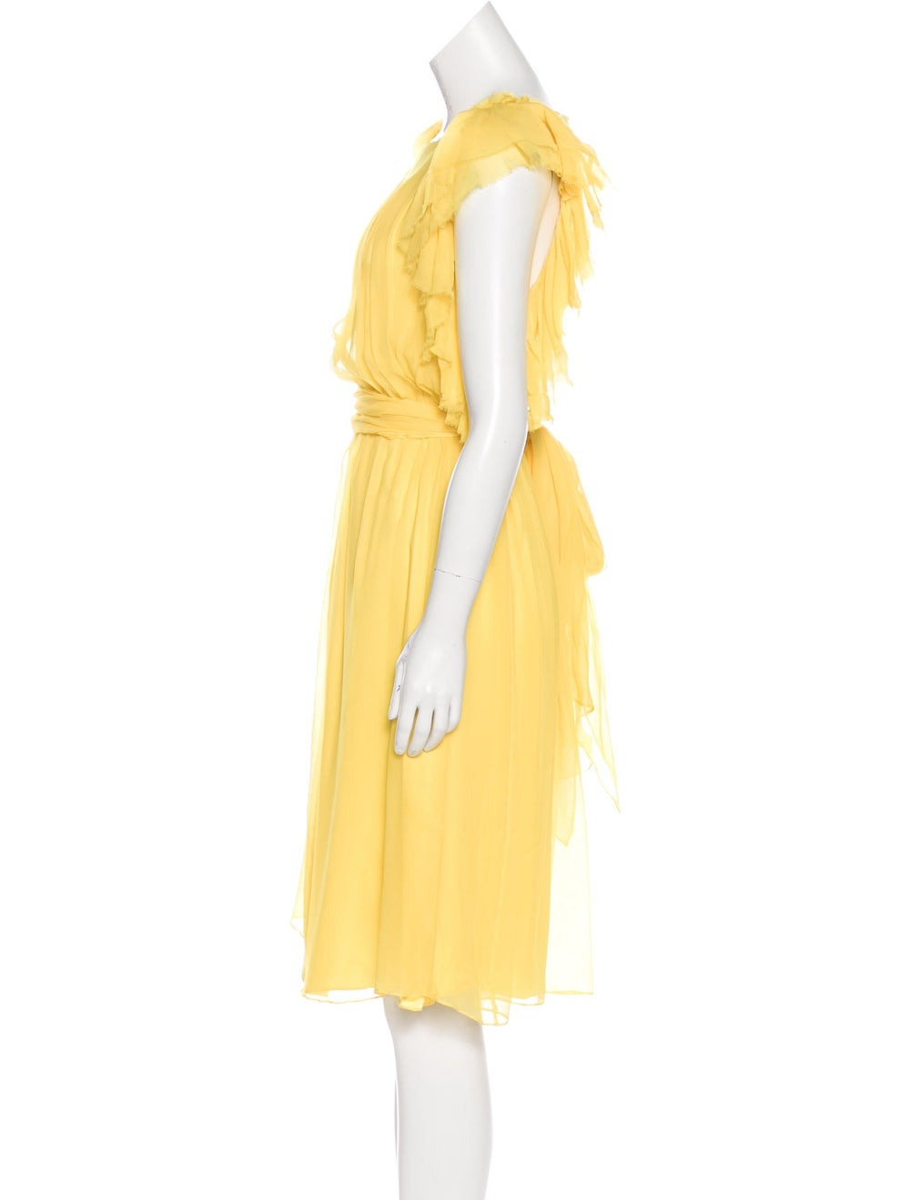 Thomas Wylde Ruffle Midi Dress Yellow - image 2