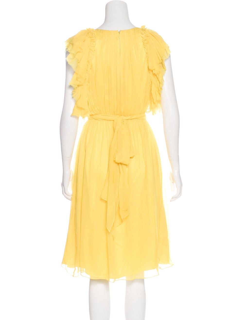 Thomas Wylde Ruffle Midi Dress Yellow - image 3