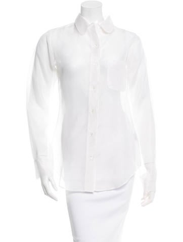 Thom Browne Sheer Silk Button-Up Blouse w/ Tags