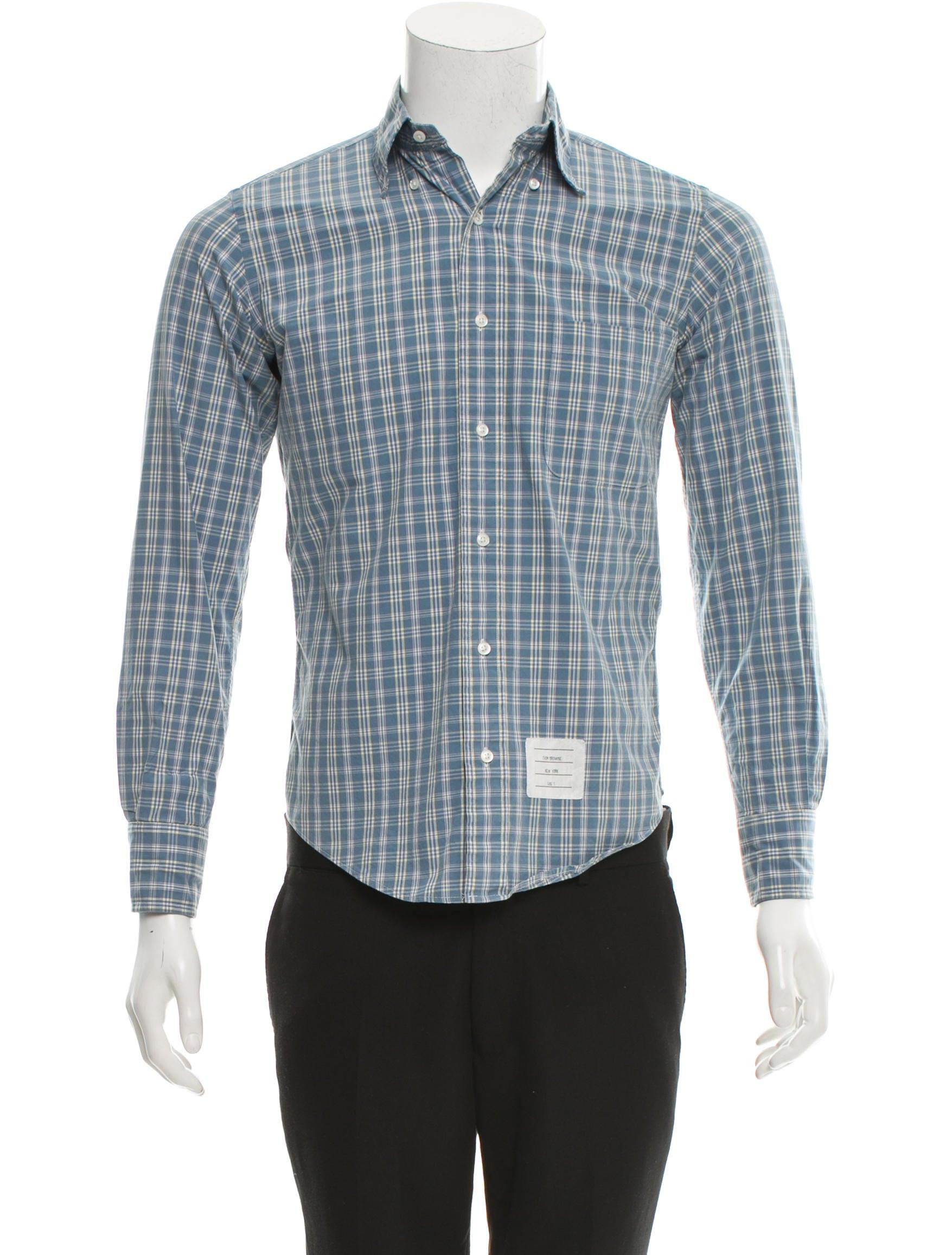 Thom browne plaid button up shirt clothing tho21085 for Thom browne shirt sale