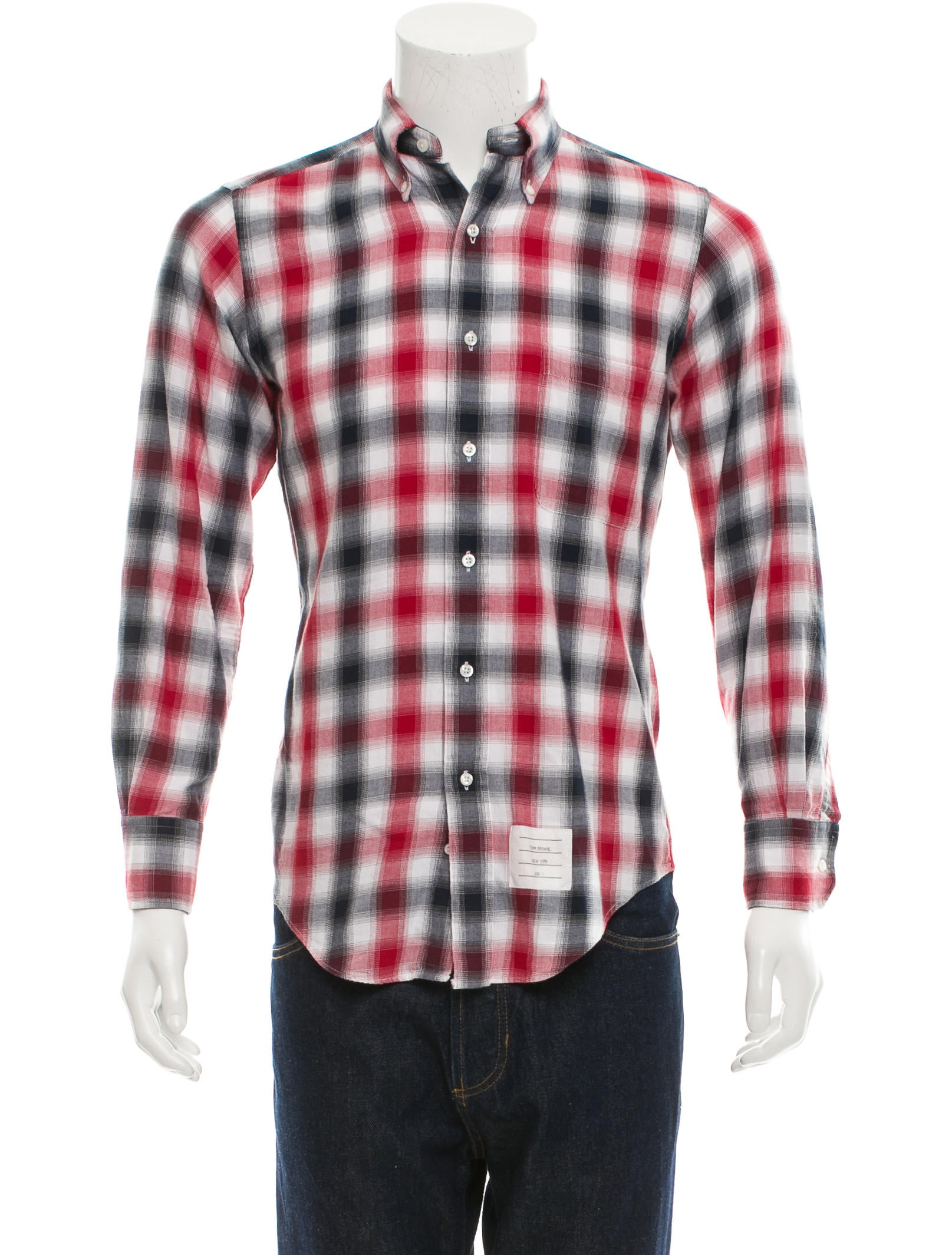 thom browne button down flannel shirt clothing