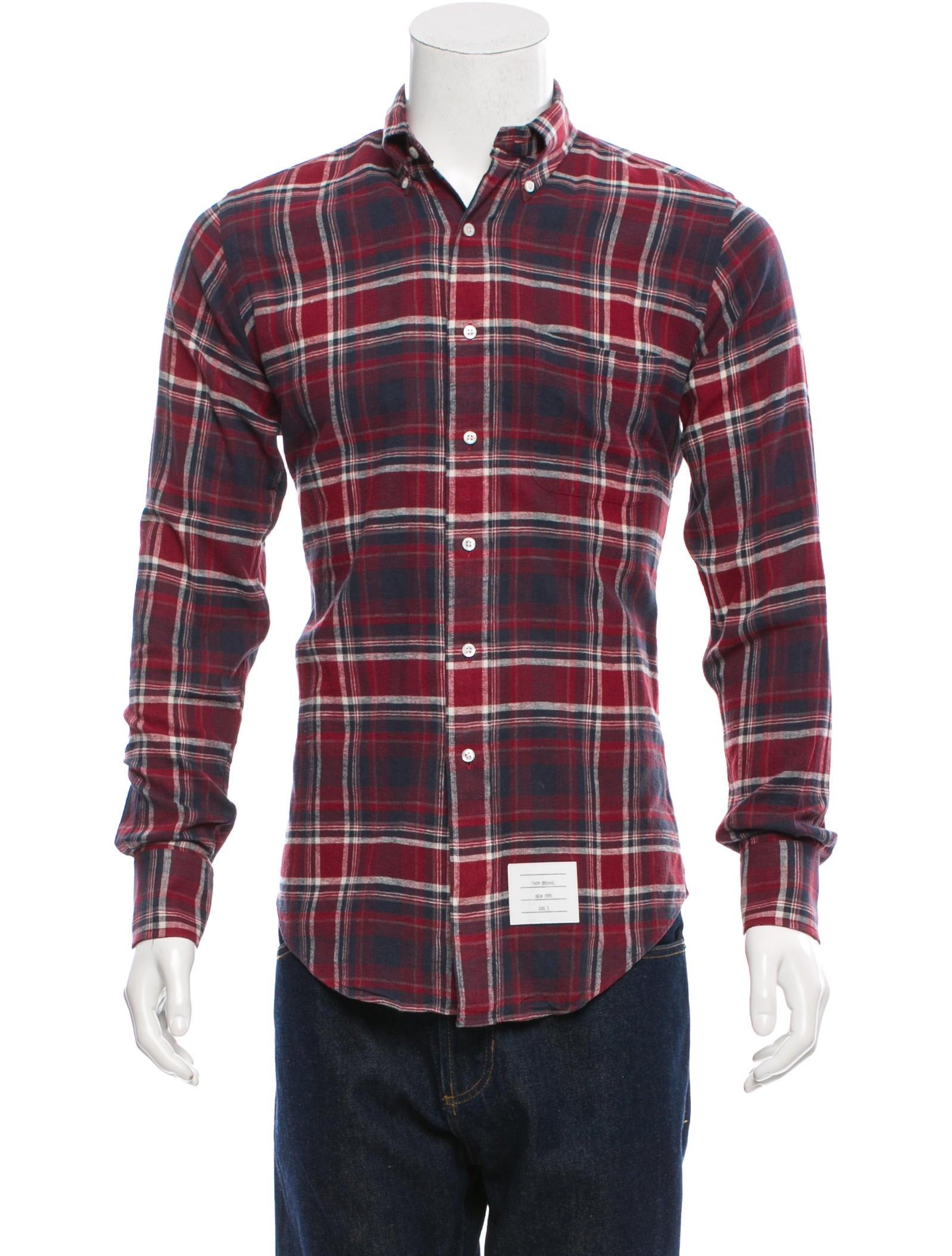 Thom browne plaid button up shirt clothing tho21226 for Thom browne shirt sale