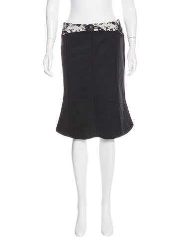 Thom Browne Lace-Paneled Knee-Length Skirt w/ Tags