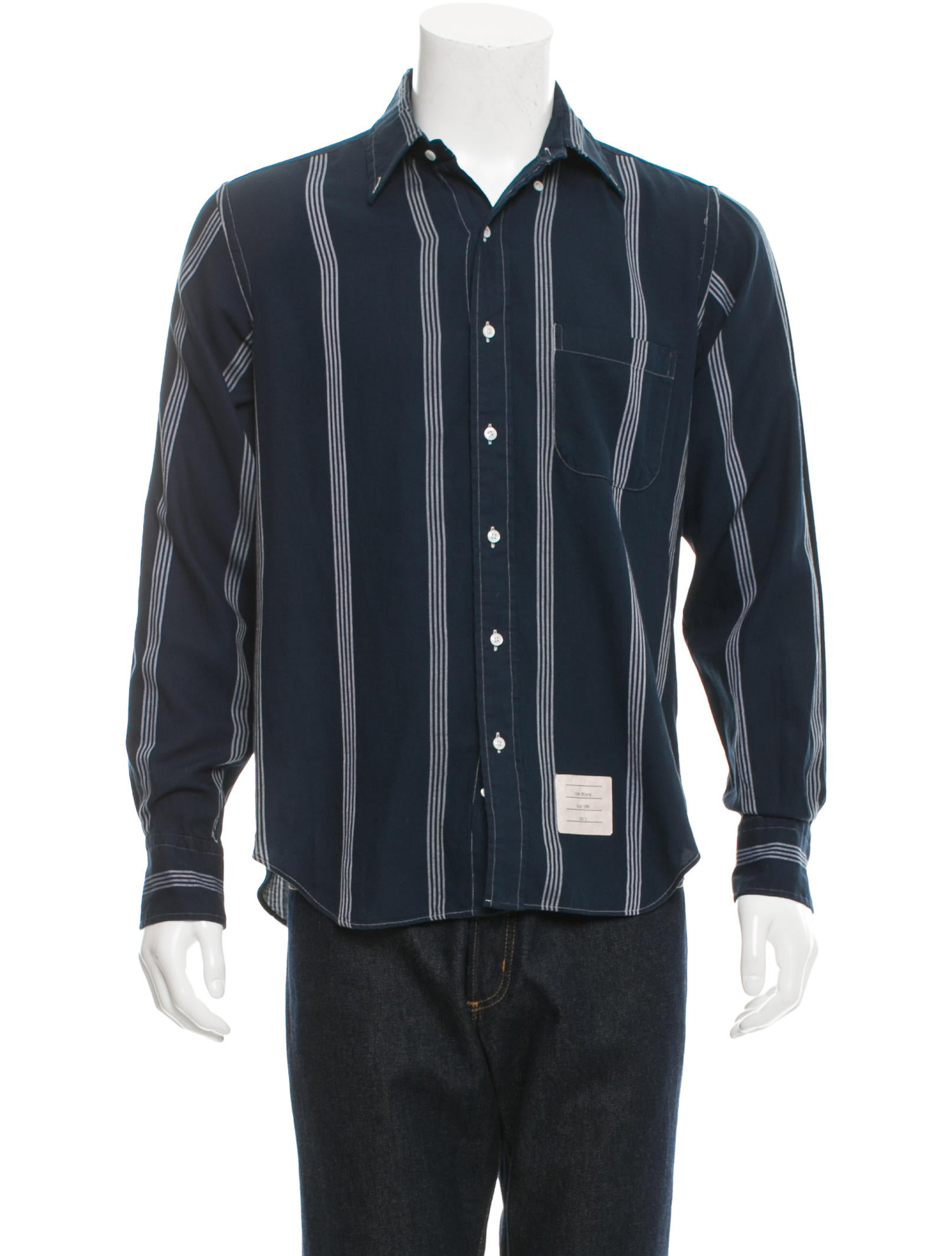 Thom Browne Striped Button Down Shirt Clothing