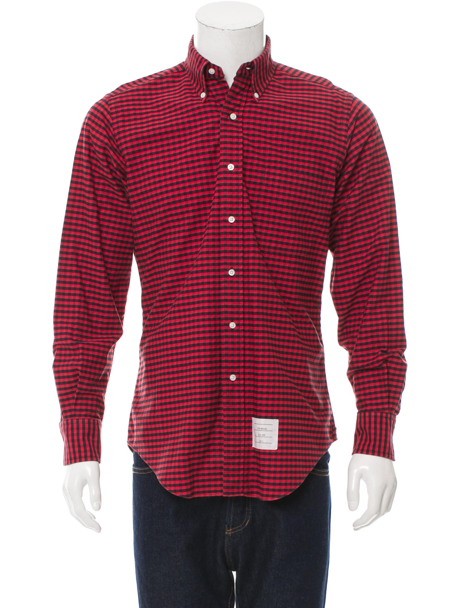 Thom browne gingham button up shirt clothing tho21789 for Thom browne shirt sale