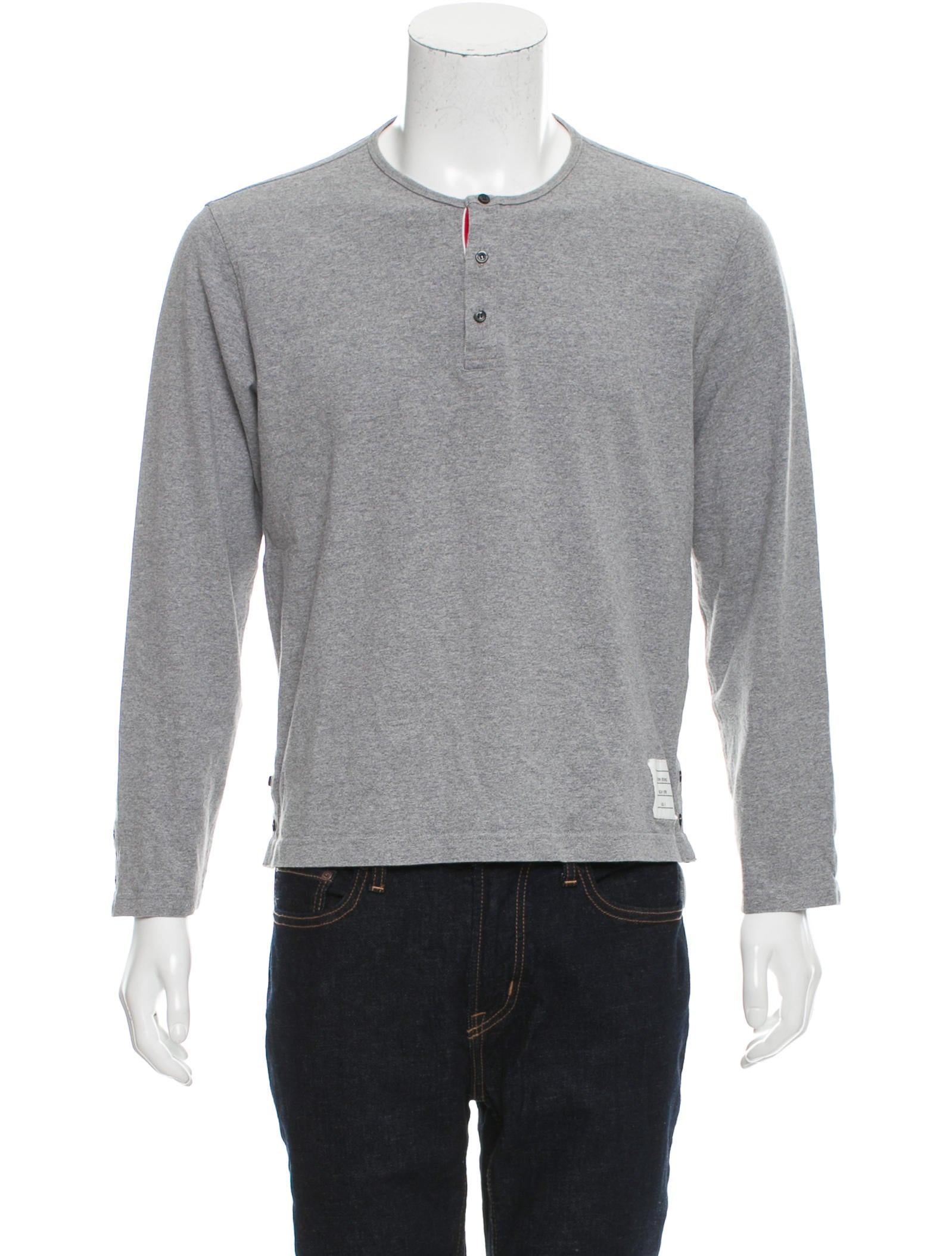 Thom browne crew neck henley t shirt clothing tho22025 for Thom browne t shirt