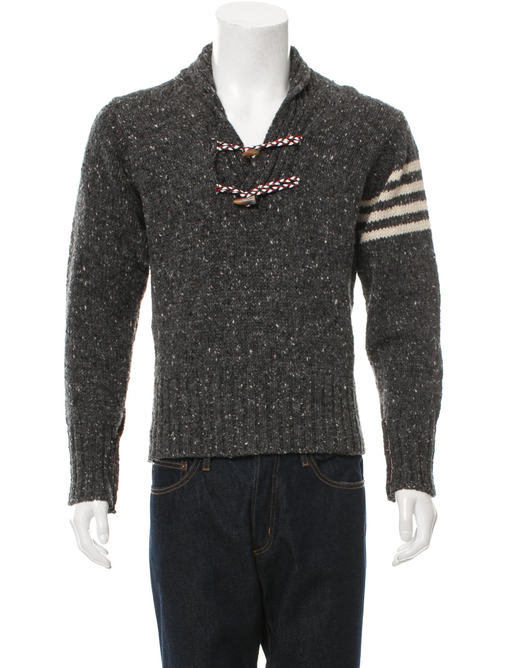 Own your very own Irish Made Shawl Neck Toggle Sweater from the Aran Sweater Market. This mens toggle sweater is created using traditional Aran cable, basket and diamond stitches.