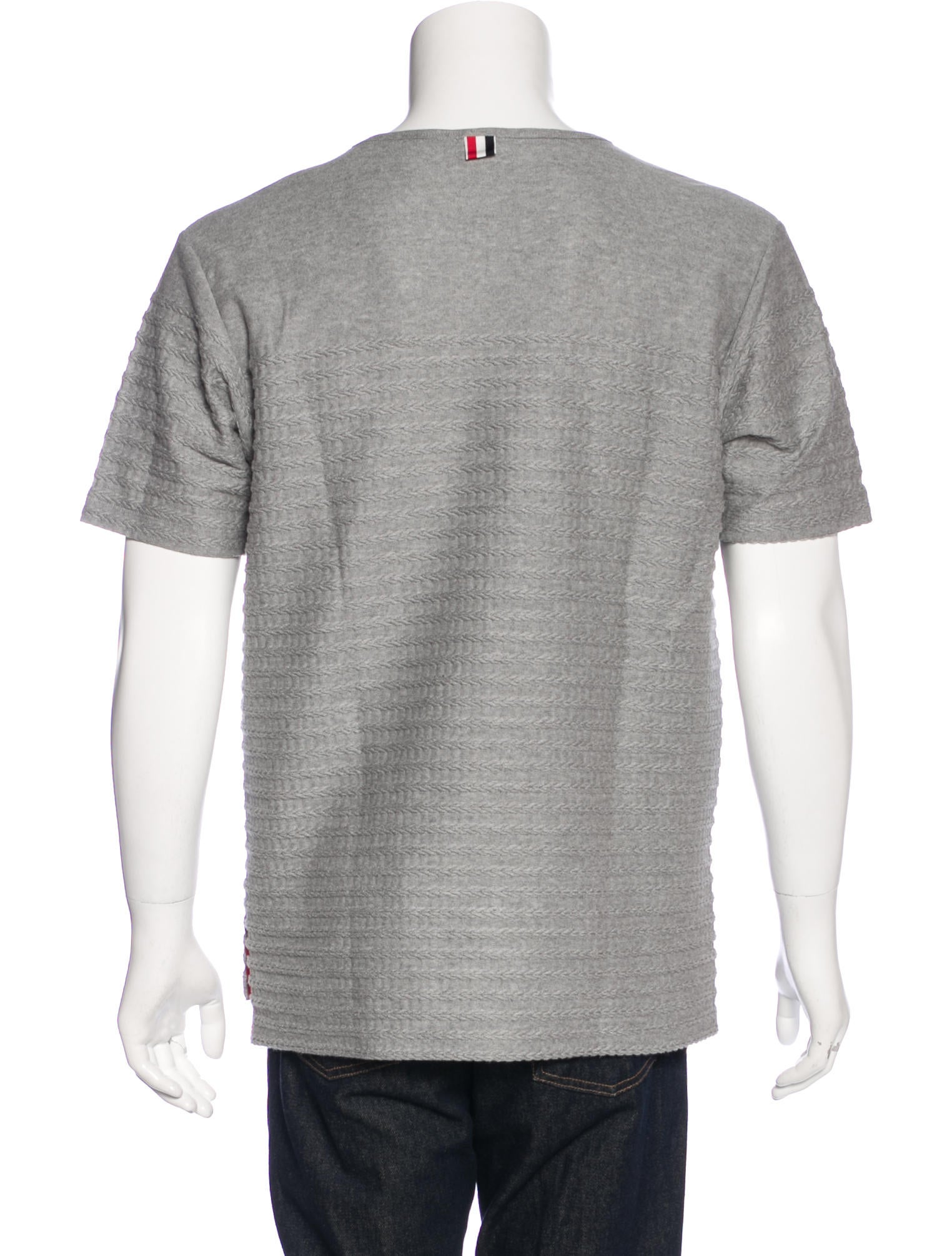 Thom browne embroidered scoop neck t shirt clothing for Thom browne t shirt