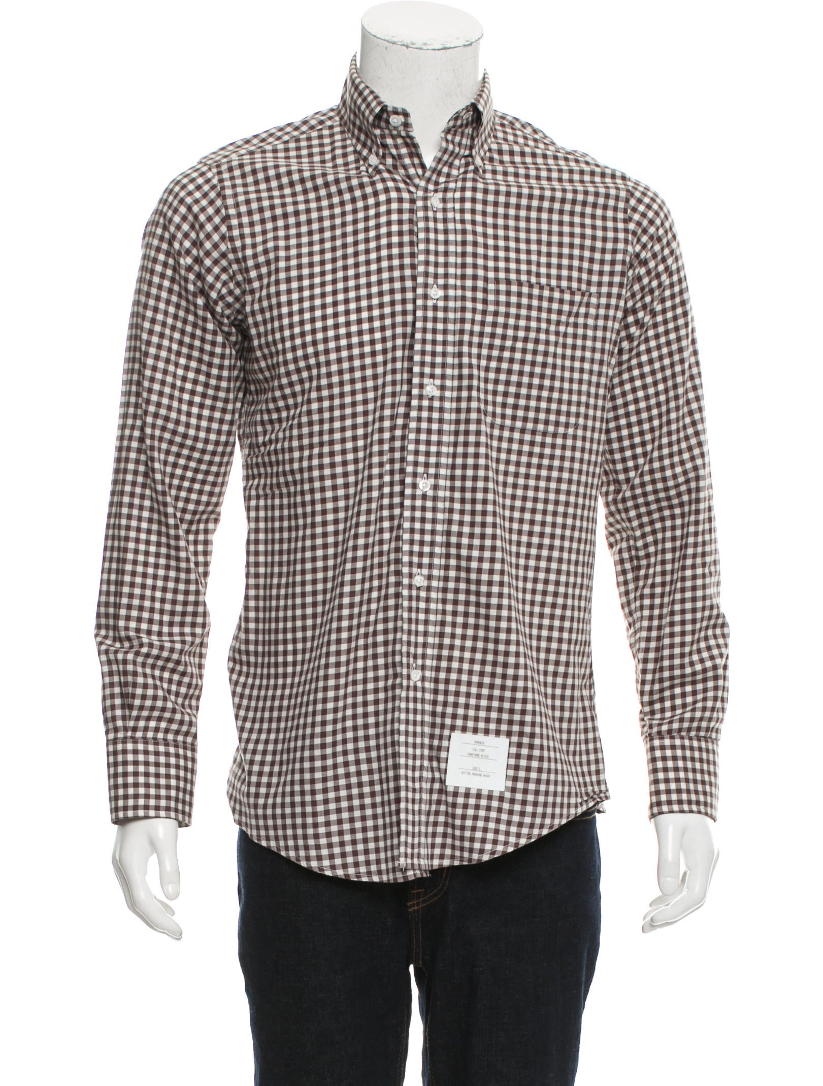 Thom browne gingham button up shirt clothing tho22149 for Thom browne shirt sale