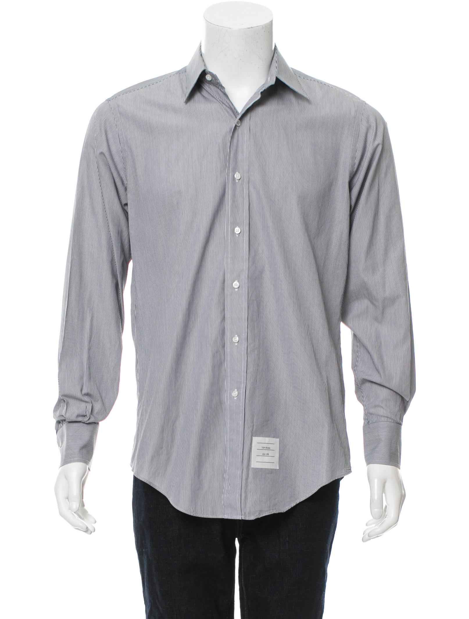 Thom browne pinstripe button up shirt clothing for Thom browne shirt sale