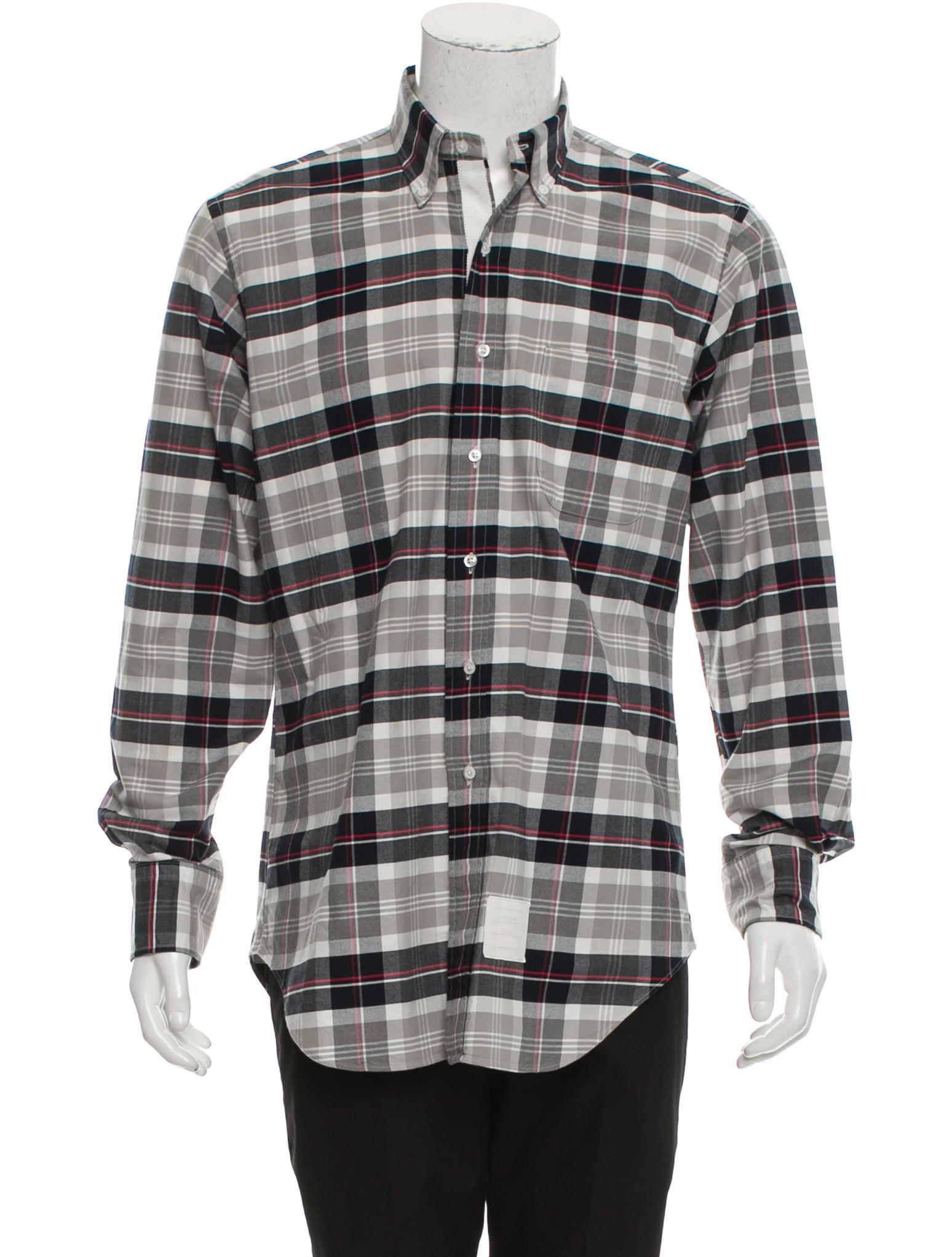 Thom browne plaid button up shirt clothing tho22152 for Thom browne shirt sale