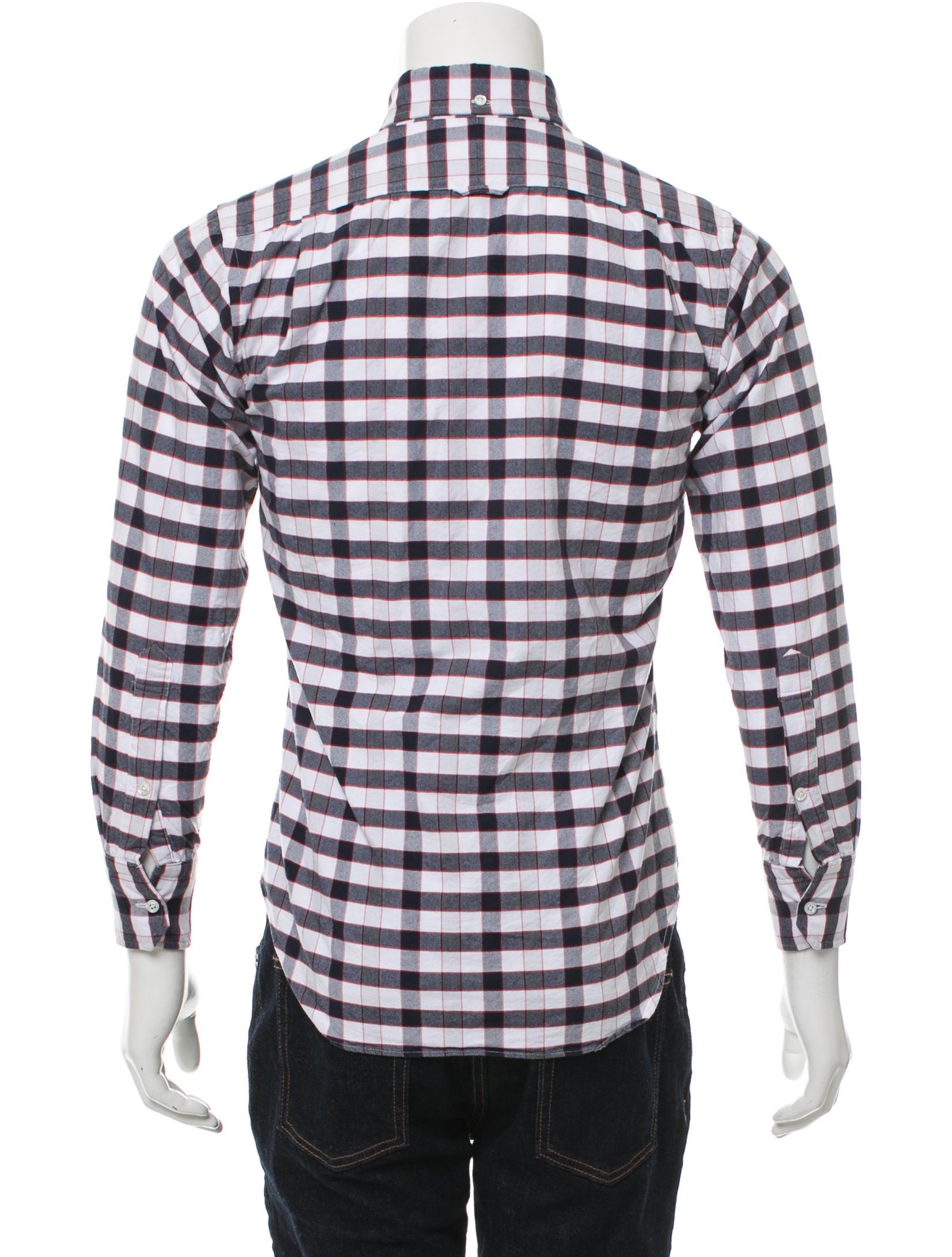 Thom browne plaid button up shirt clothing tho22171 for Thom browne shirt sale