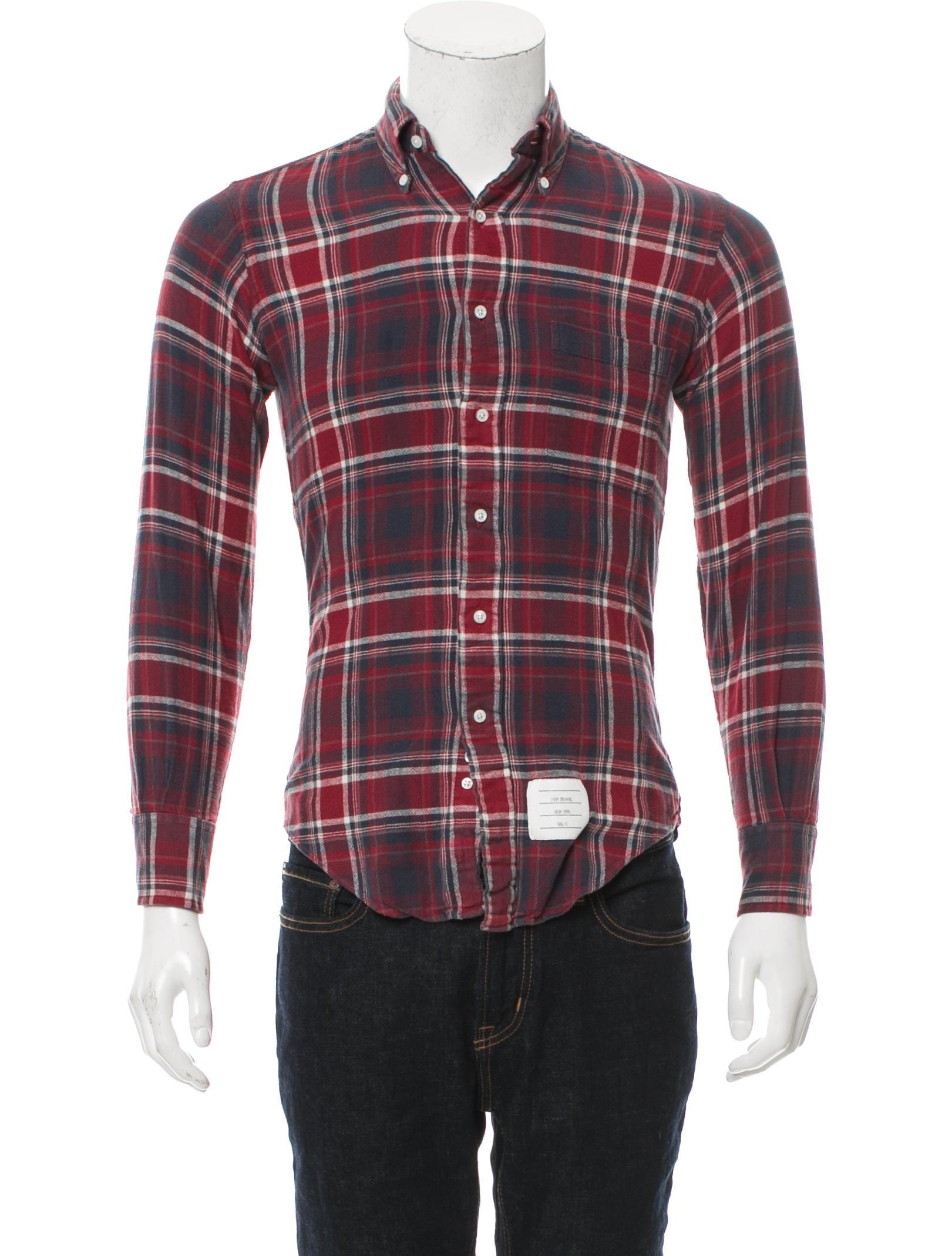 Thom browne plaid button up shirt clothing tho22207 for Thom browne shirt sale