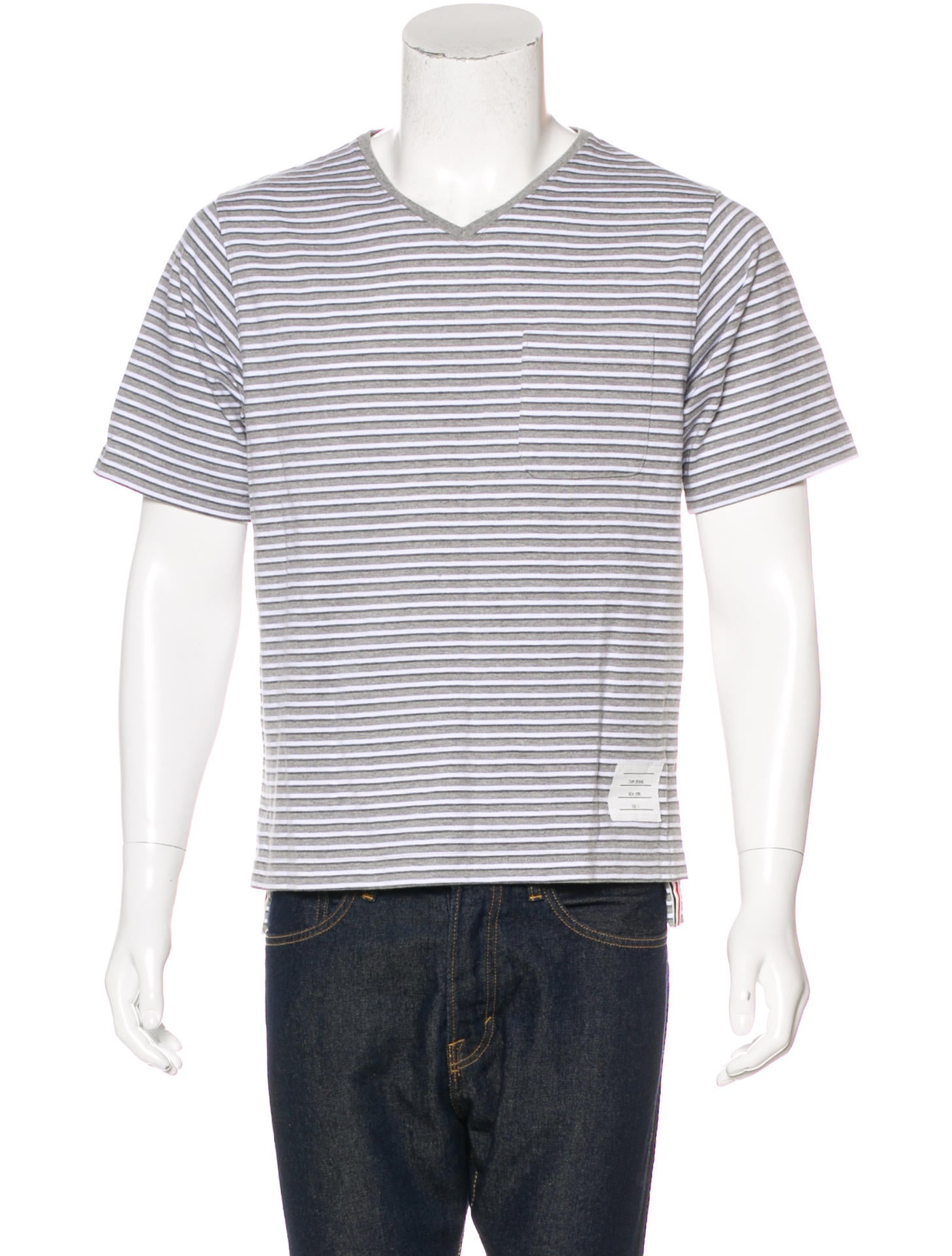 Thom browne striped v neck t shirt clothing tho22310 for Thom browne t shirt