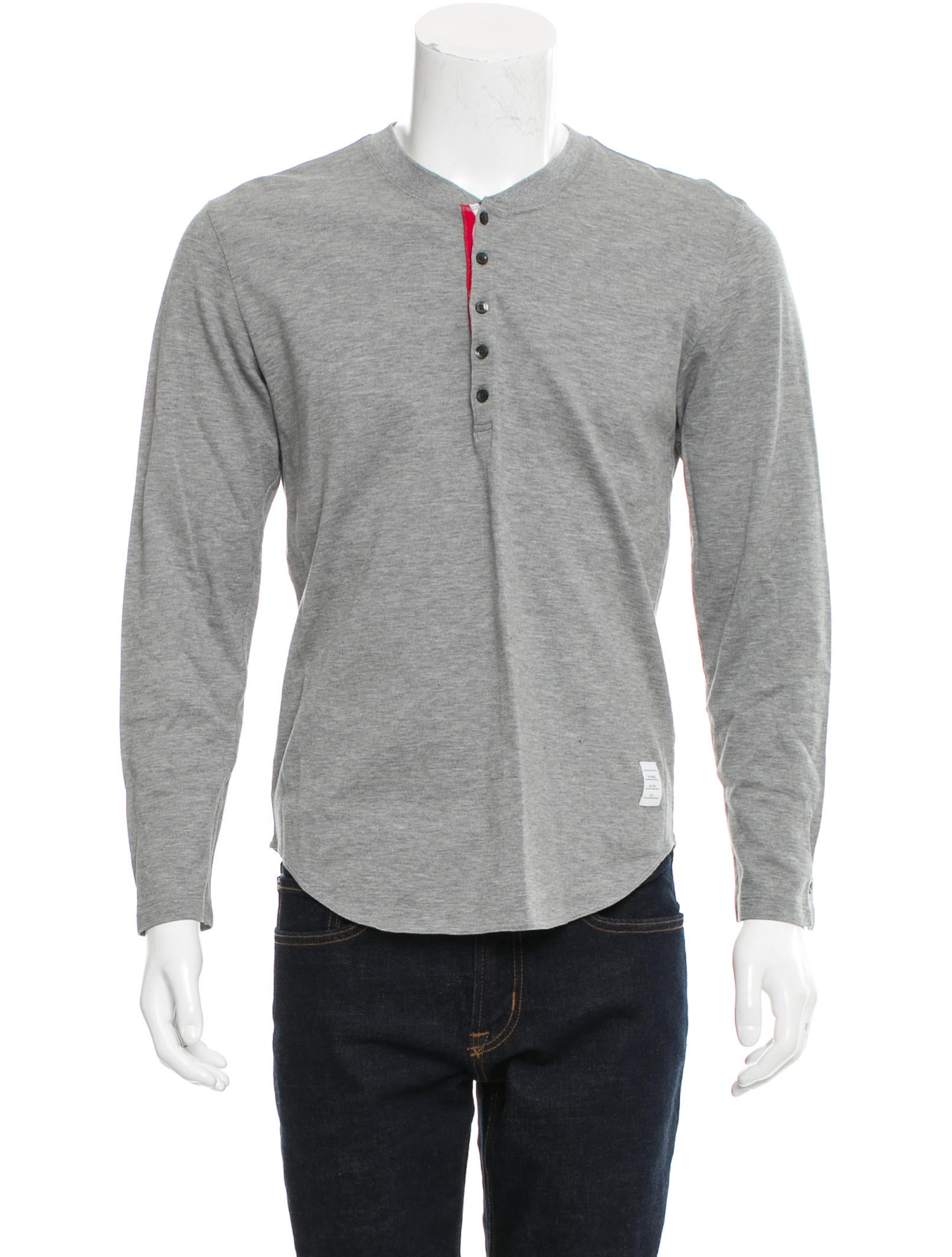 Thom browne long sleeve henley t shirt clothing for Thom browne t shirt