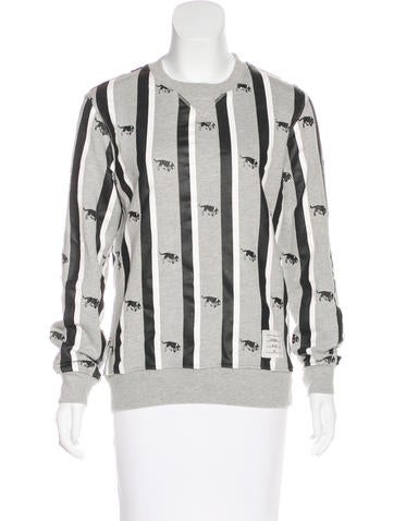 Thom Browne Printed Crew Neck Sweatshirt None