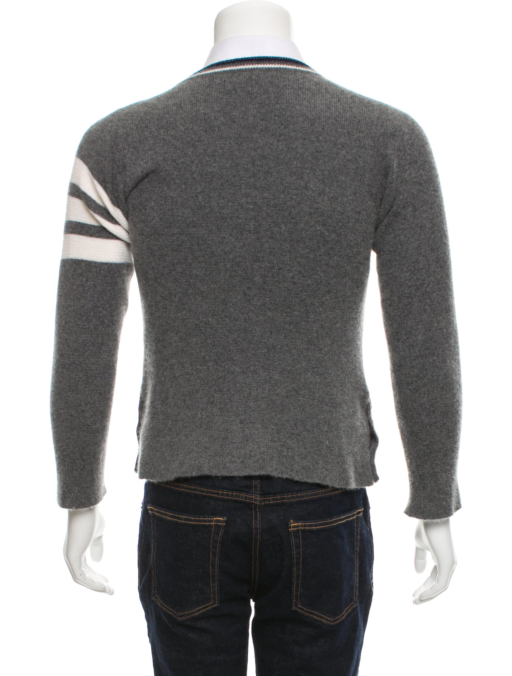 8a7f639f76e9 Thom Browne 4 Bar-Striped Cashmere Cardigan - Clothing - THO23108 ...