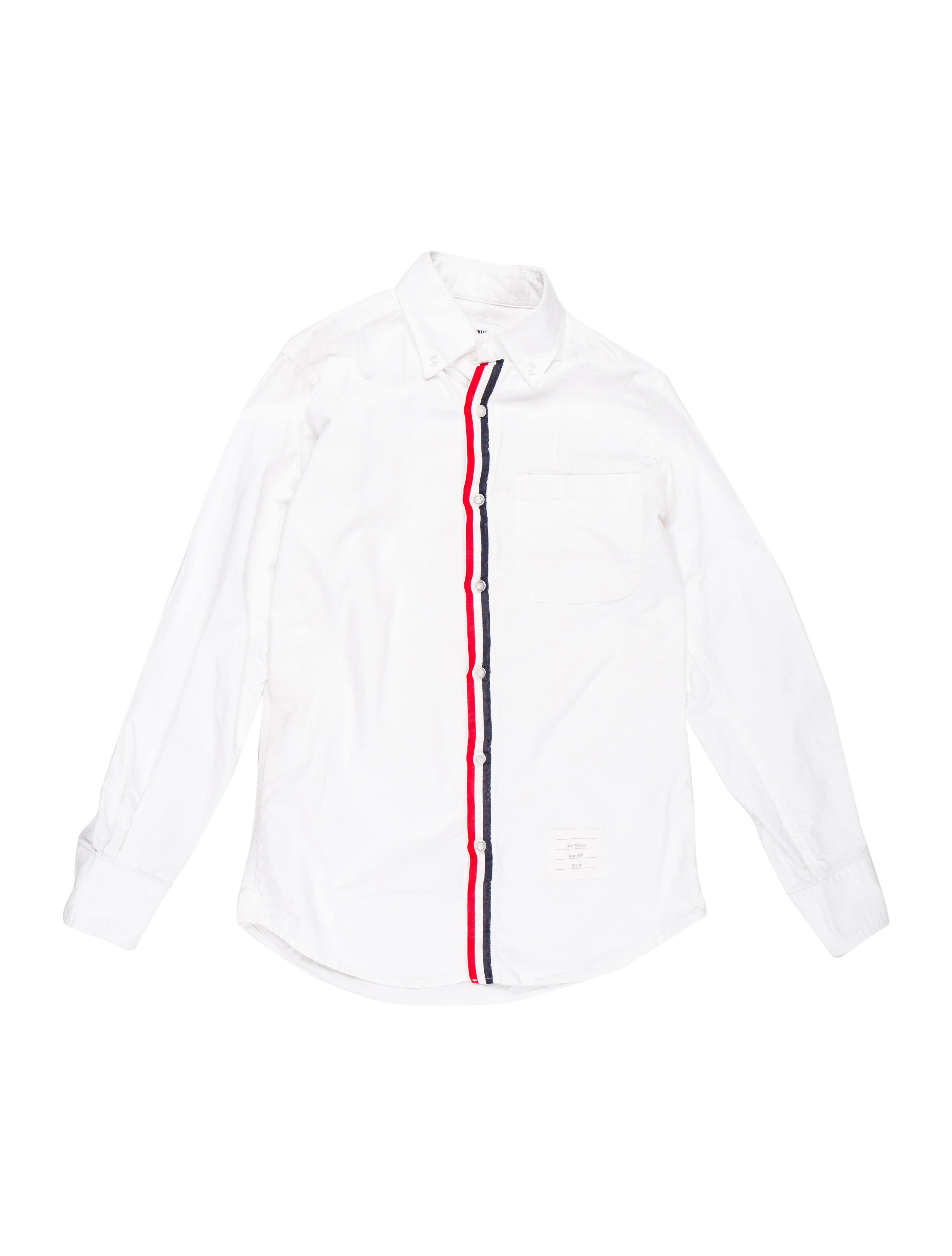 93bc701ce23 Thom Browne Striped Grosgrain-Accented Shirt - Clothing - THO25201 ...