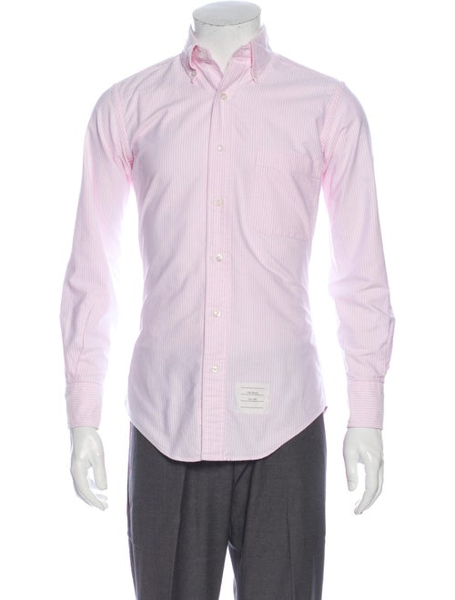 Thom Browne Striped Long Sleeve Dress Shirt Pink