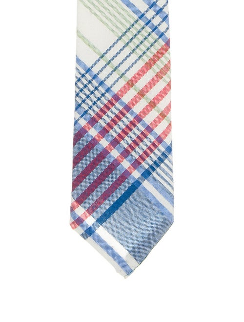 Thom Browne Woven Check Tie blue