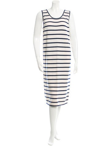 The Row Striped Sleeveless Cashmere Dress None