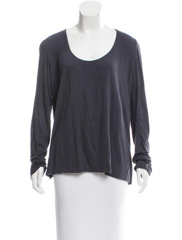 The Row Scoop Neck Long Sleeve Top None