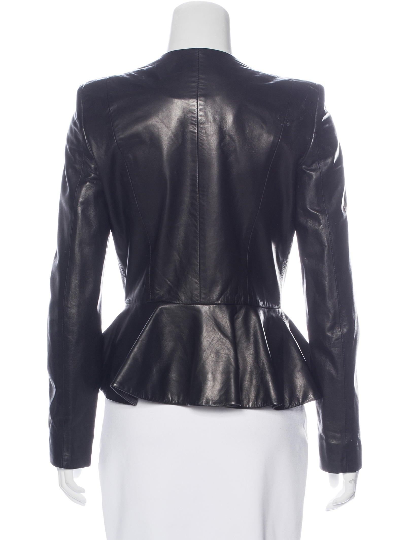 The Row Peplum Leather Jacket Clothing Thr32946 The