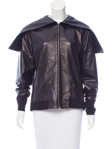 The Row Hooded Leather Jacket None