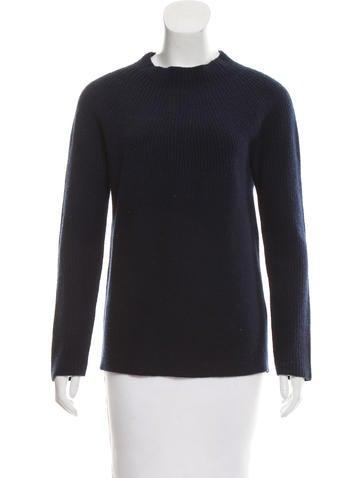 The Row Mock Neck Rib Knit Sweater None