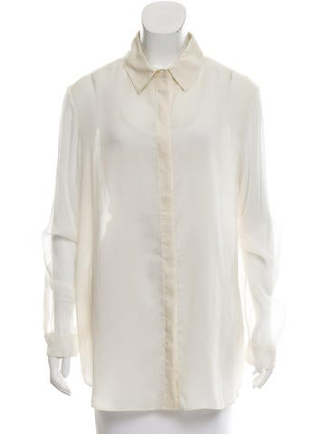 The Row Silk-Accented Long Sleeve Top None