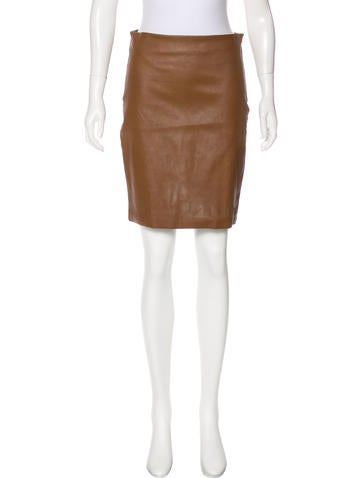 The Row Leather Mini Skirt None