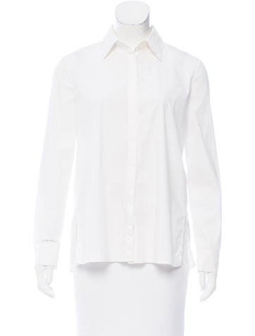 The Row Pleated Button-Up Top None