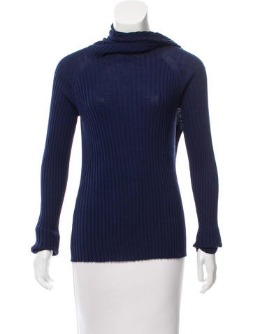 The Row Rib Knit Scarf Neck Top None