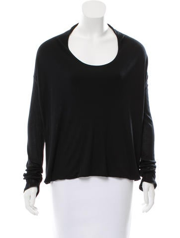 The Row Long-Sleeve Scoop Neck Top w/ Tags None