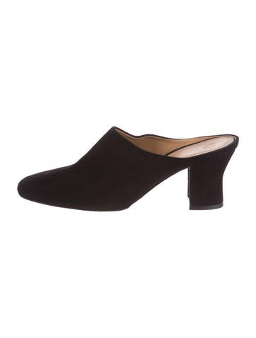 The Row Suede Round-Toe Mules None