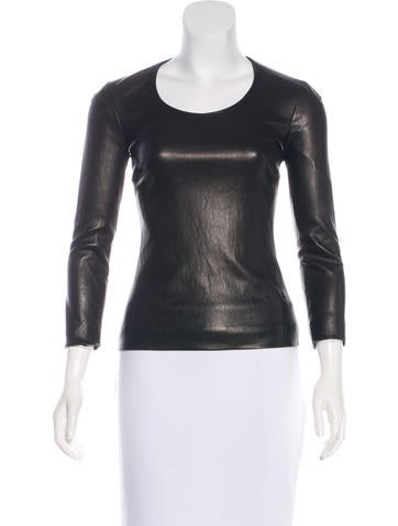 The Row Leather Long Sleeve Top None