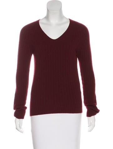 The Row Rib Knit V-Neck Sweater None