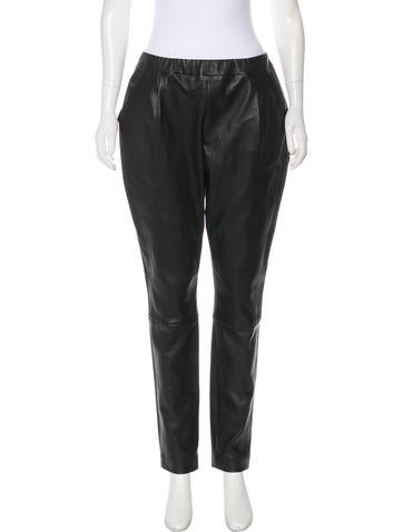 Leather High-Rise Pants
