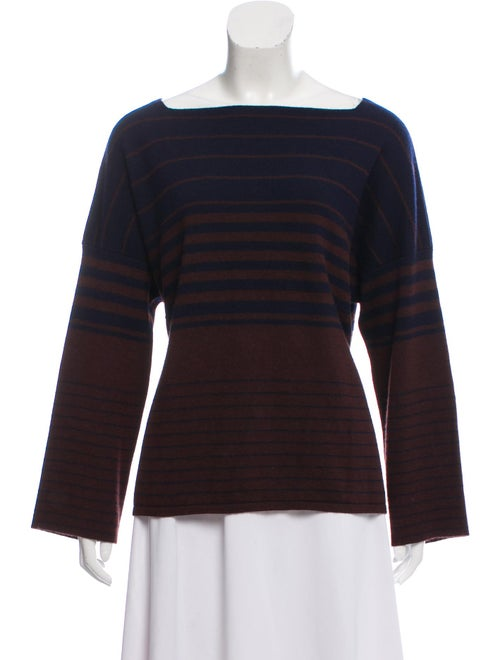 The Row Striped Square Neck Sweater Navy