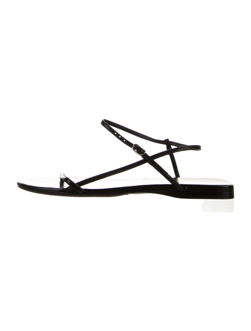 The Row Bare Leather Ankle Strap Sandals Black