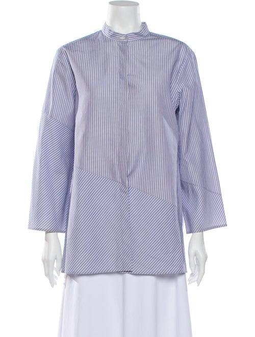 The Row Striped Mock Neck Blouse Blue