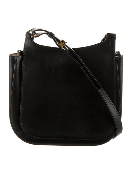 The Row Leather Crossbody Bag Black