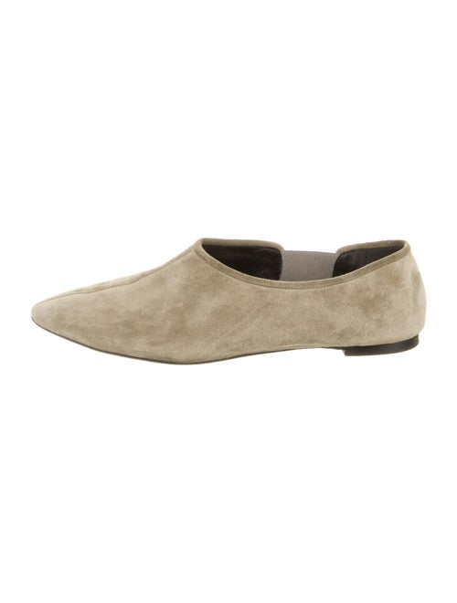 The Row Suede Flats Green