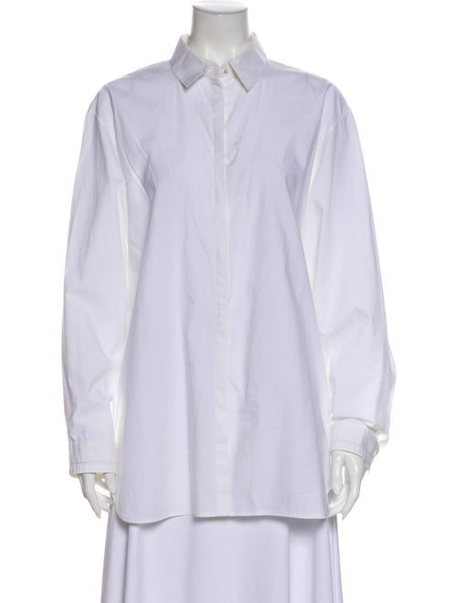 The Row Long Sleeve Button-Up Top White