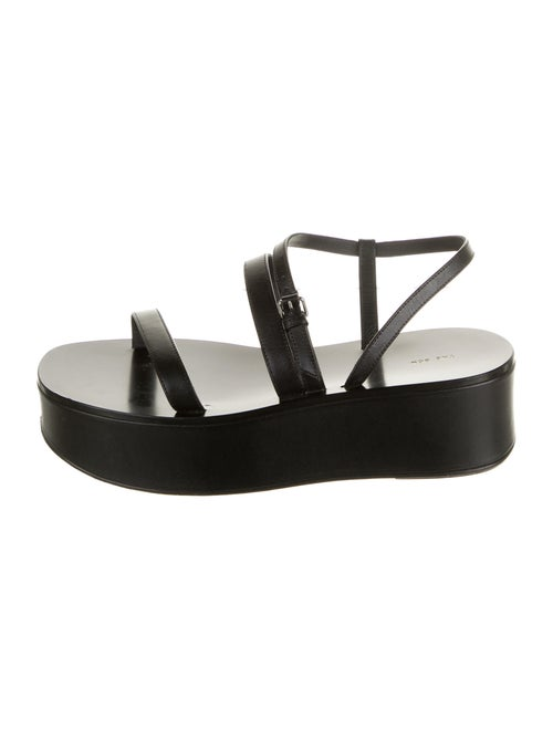 The Row Leather Slides Black