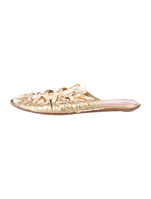 The Row Embossed Leather Sandals Gold